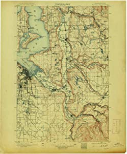 YellowMaps Tacoma WA topo map, 1:125000 Scale, 30 X 30 Minute, Historical, 1900, Updated 1913, 19.9 x 16.6 in