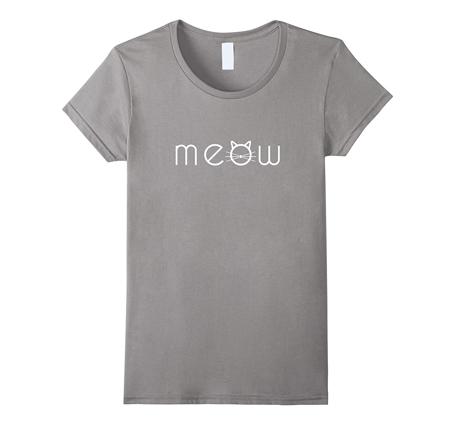 Womens Meow Letters Prints And Cute Cat face T-Shirt-T-Shirt