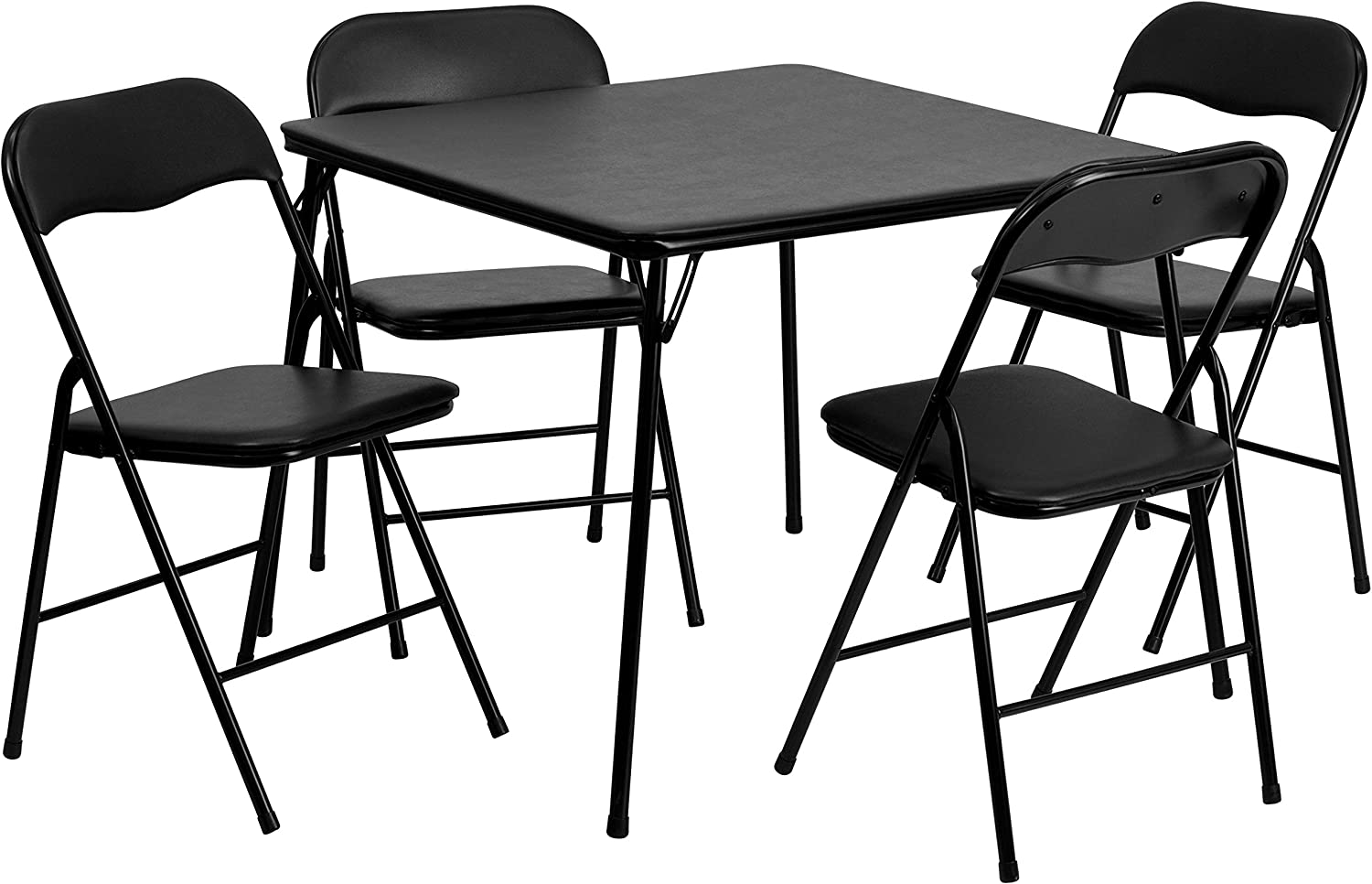 Flash Furniture 5 Piece Black Folding Card Table and Chair Set - Table & Chair Sets
