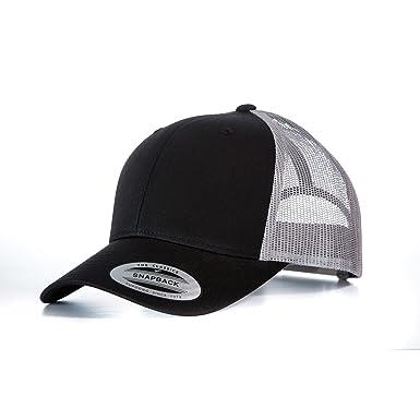 3e86e0db Yupoong Flexfit Retro Snapback Trucker Cap (One Size) (Black/Light Grey)