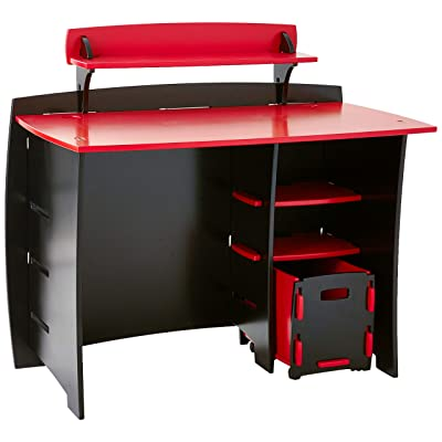 Legaré Furniture Children's Desk with Shelves and File Cart Set for Kids, Red and Black: Kitchen & Dining