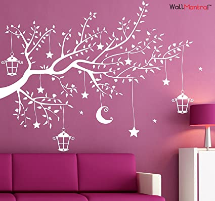 Wallmantra moon stars hanging from a tree wall decal wall sticker size s