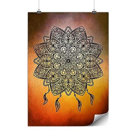 Amazon.com: wellcoda Mandala Yoga Poster Spiritual A4 (8″ x ...
