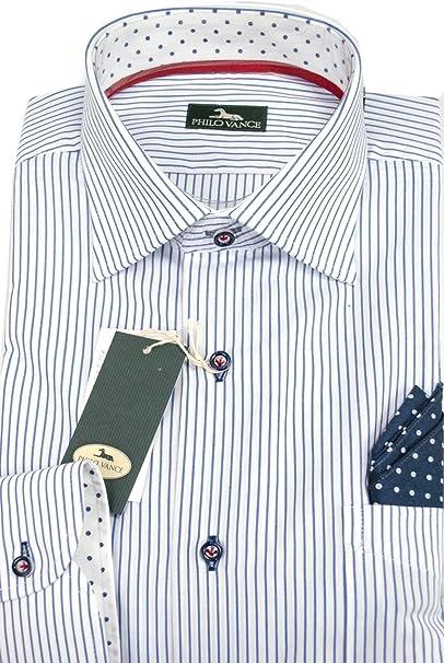 Amazon.com: Camisa para hombre con línea blanca azul con un ...