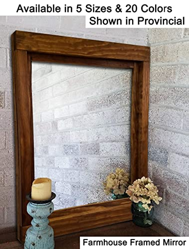 Farmhouse Large Framed Mirror Available In 6 Sizes And 20 Stain Colors Shown Provincial