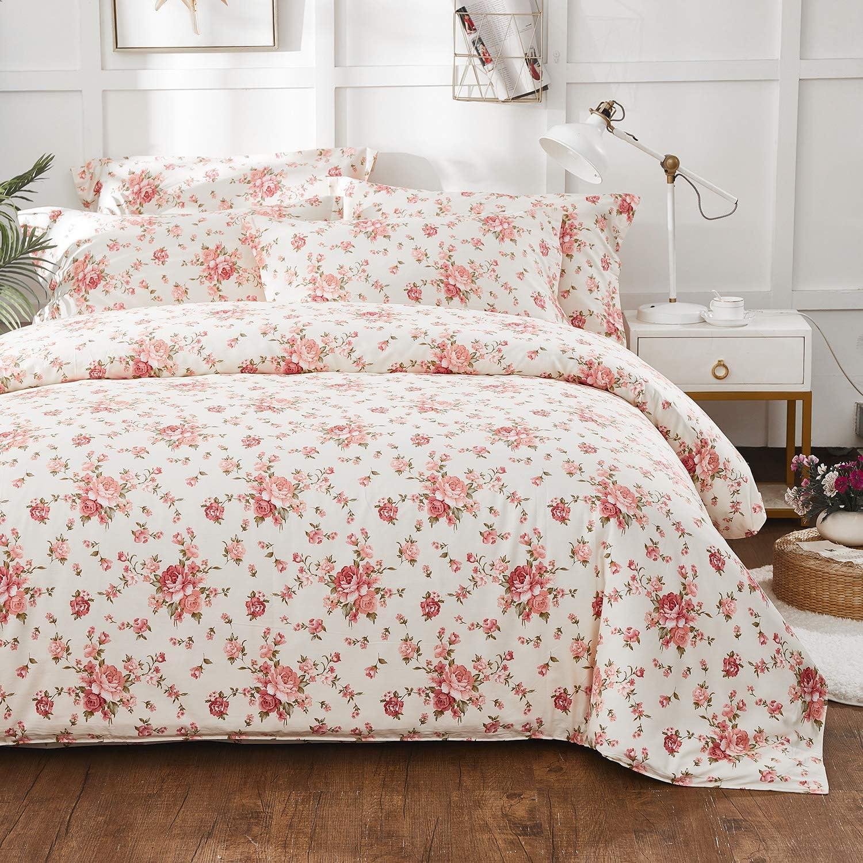 Brandream Floral Bedding Sets Queen Size Shabby Country Farmhouse Bedding Sets Girls Cotton Duvet Cover Set Zipper Closure(1 Duvet Cover + 2 Pillow Shams)