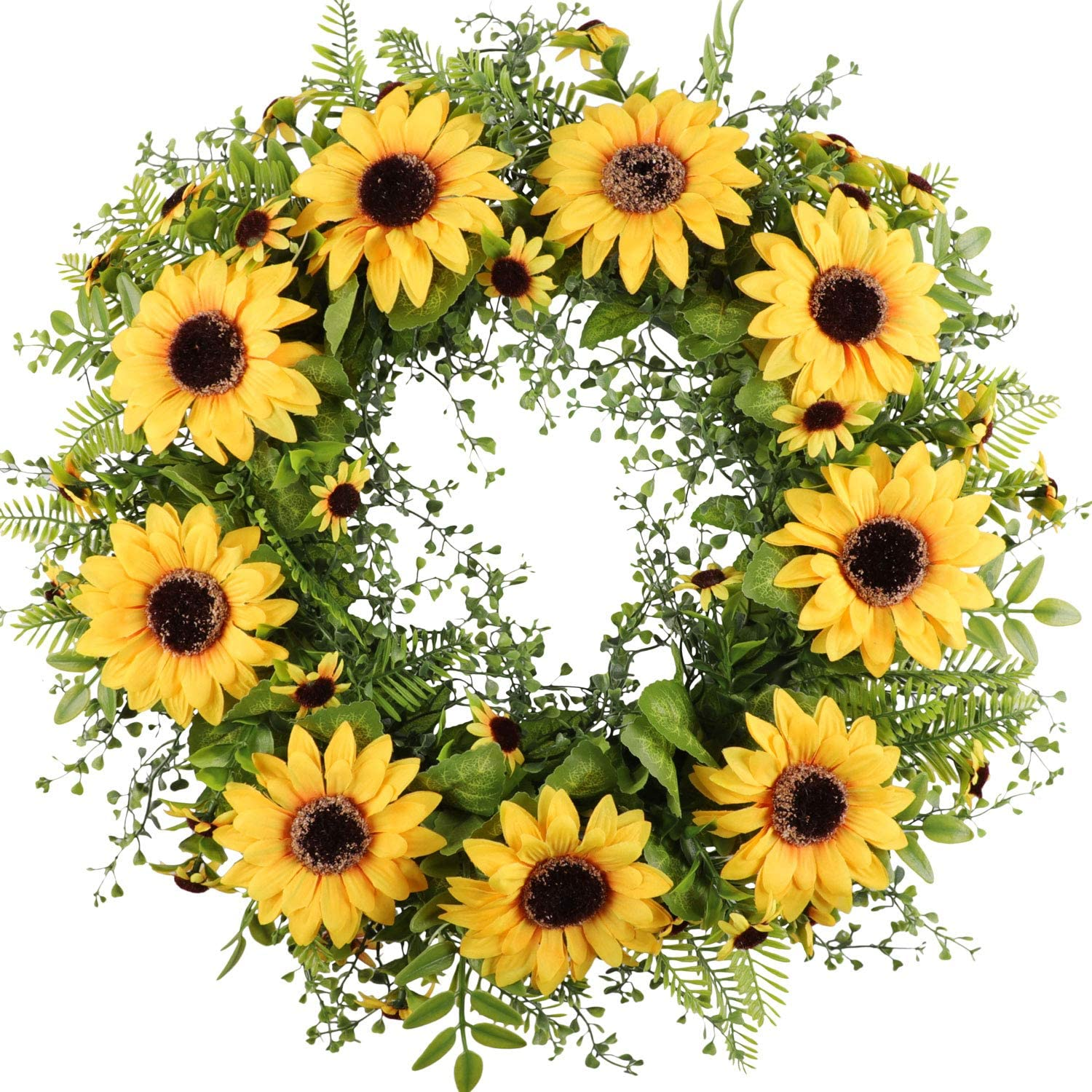 "Cekene Artificial Sunflower Wreath for Front Door 17""Faux Floral Round Spring Summer Wreath with Green Leaves and Sunflowers Home Party Window Wall Decor and Wedding Decorative (17"", Sunflower Wreath)"