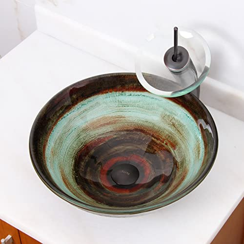 ELITE Space Tunnel Pattern Tempered Glass Bathroom Vessel Sink Oil Rubbed Bronze Waterfall Faucet Combo