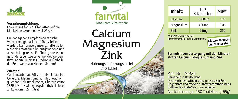 de calcio y magnesio de zinc - 80 días - VEGANO - dosis alta - 250 comprimidos - complejo mineral: Amazon.es: Salud y cuidado personal