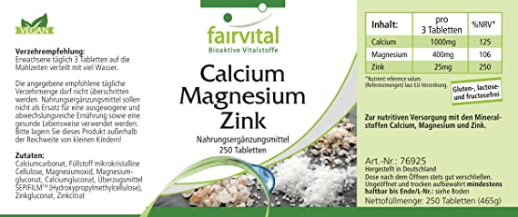 Calcio Magnesio Zinc -para 80 días - VEGANO - Alta dosificación - 250 comprimidos - complejo mineral: Amazon.es: Salud y cuidado personal