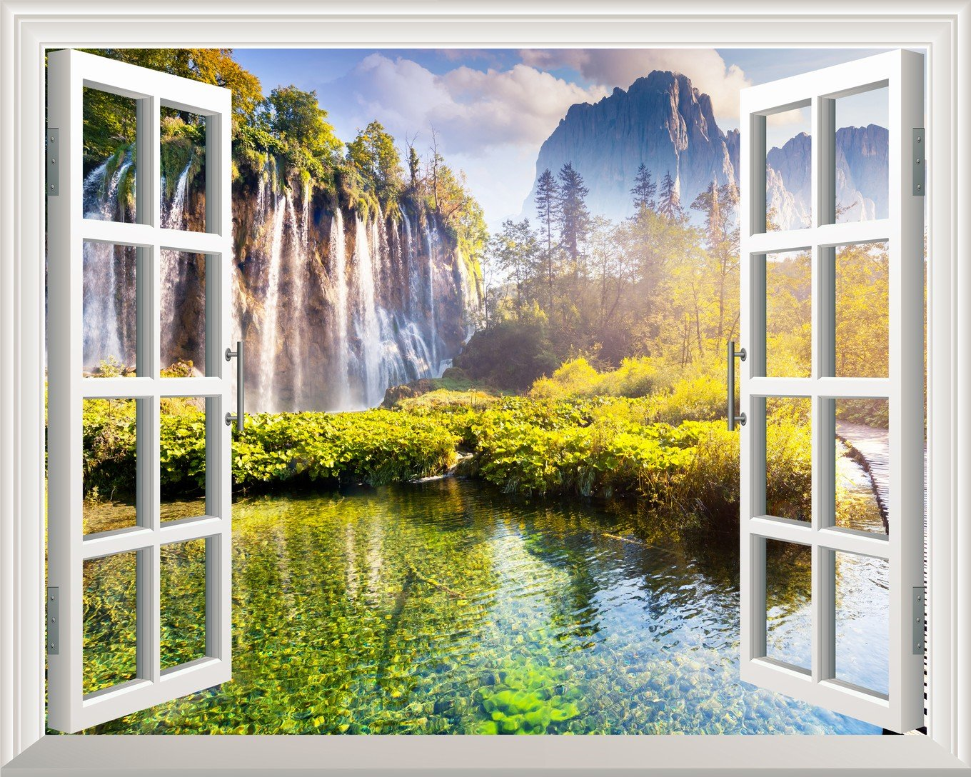 Removable Wall Sticker Wall Mural Waterfall and Mountain afar out of ...