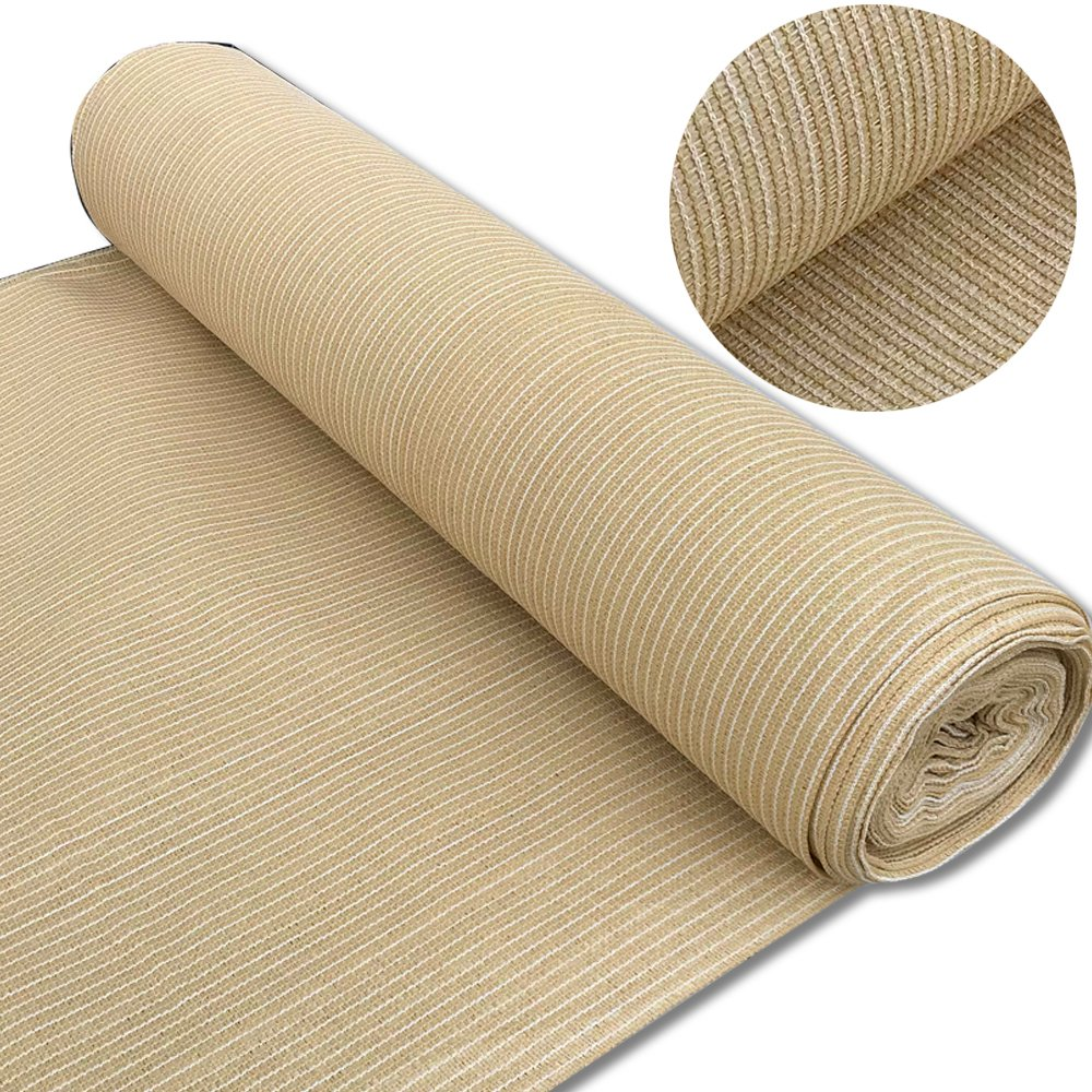 Alion Home 180 GSM Sunblock Shade Fabric Roll, 95% UV Block Breathable Mesh for Patio, Pergola, Greenhouse, Barn (12' x 25', Beige)