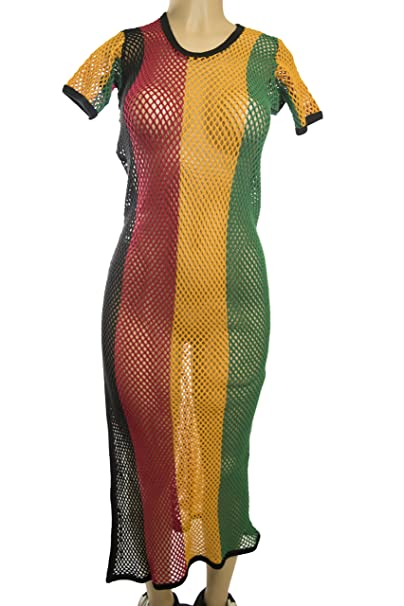 Rasta Wear Long Mesh Dress with Rasta Colors (Small) at ...