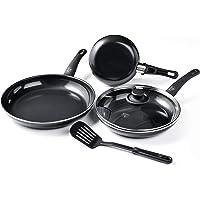 GreenLife Soft Grip Diamond Healthy Ceramic Nonstick, Cookware Pots and Pans Set, 5 Piece, Black