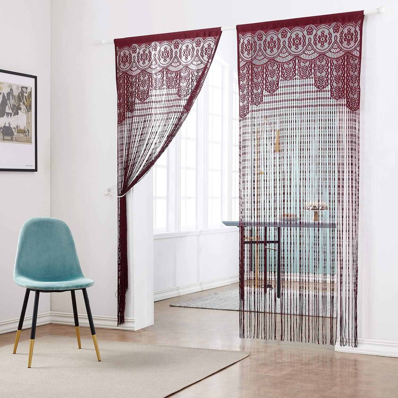 Taiyuhomes - Cortina de tiras para puerta, perfectas para separar espacios, elegantes y cálidas, se pueden colocar en puertas y ventanas, poliéster, ...