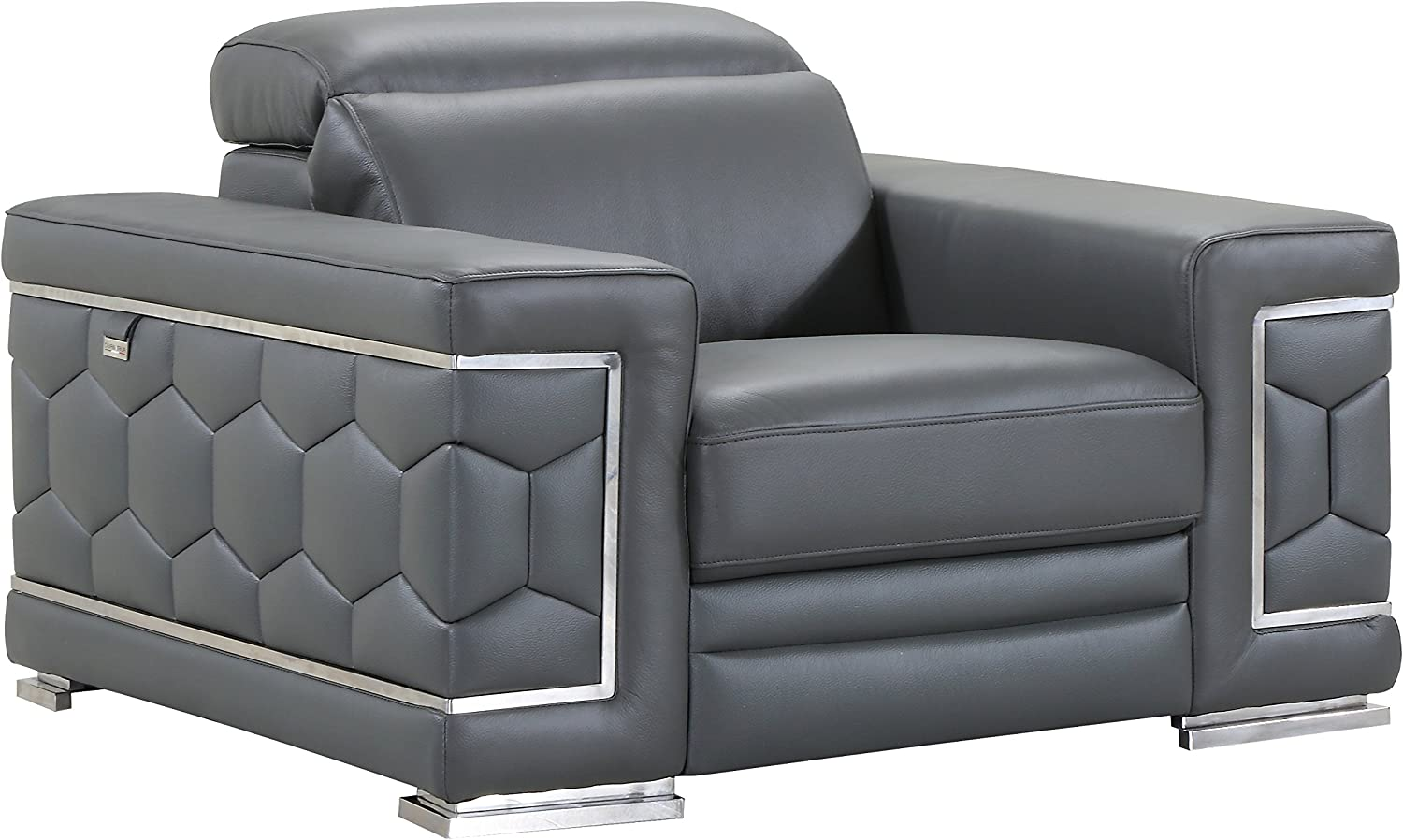 Blackjack Furniture The Usry Collection Genuine Italian Leather Upholstered Living Room Accent Chair, Dark Gray
