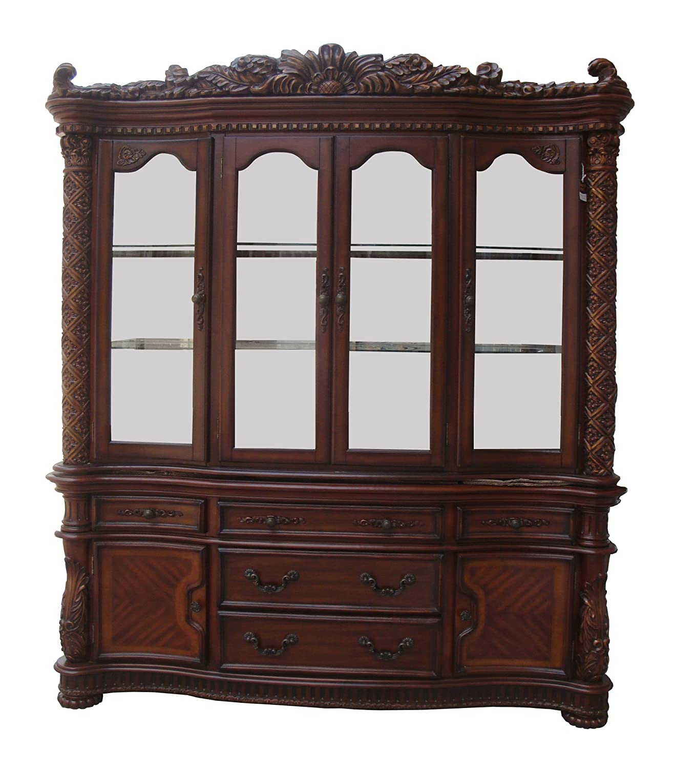ACME 60006 Vendome Hutch And Buffet China Cabinet Cherry Finish
