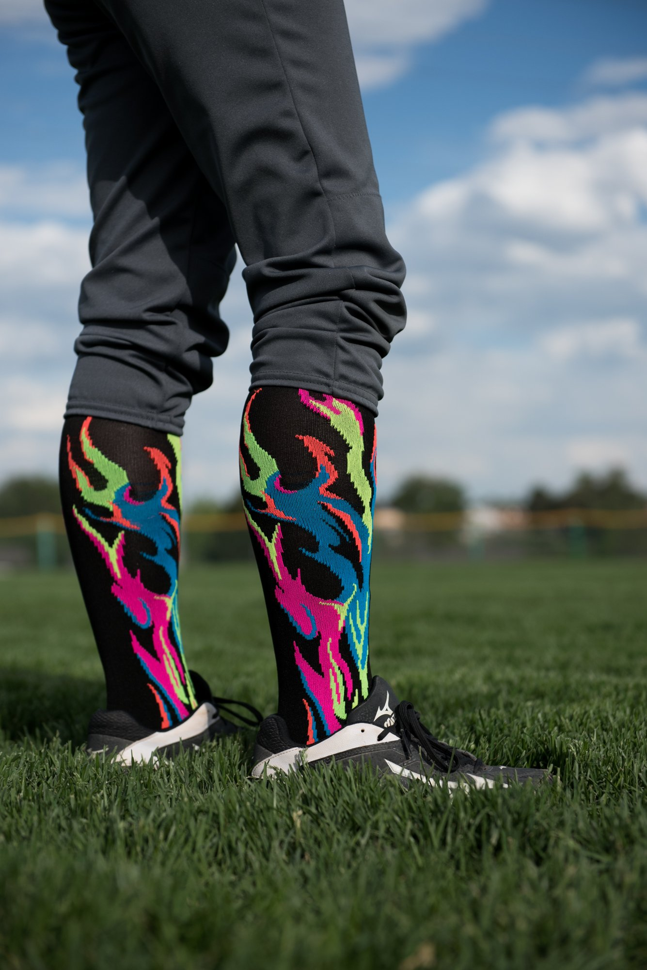MadSportsStuff Flame Socks Athletic Over The Calf Socks (Black/Neon Pink/Pale Pink, Small) by MadSportsStuff (Image #5)