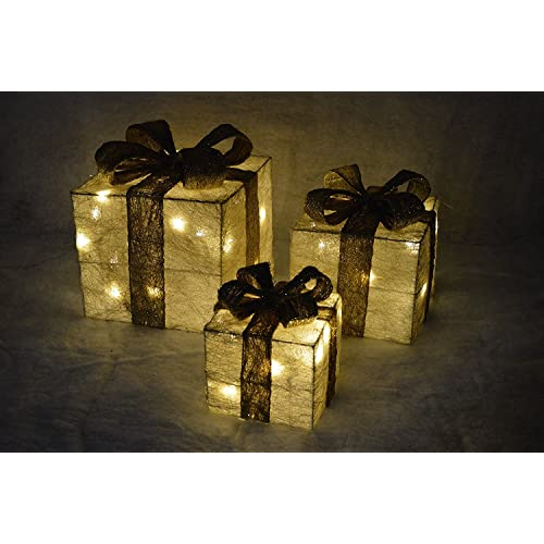 Set Of 3 Premier Led Illuminated Coloured Christmas Parcels In Cream Gold