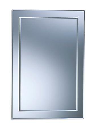 Specchio da bagno da parete a doppio strato, rettangolare, in tinta ...