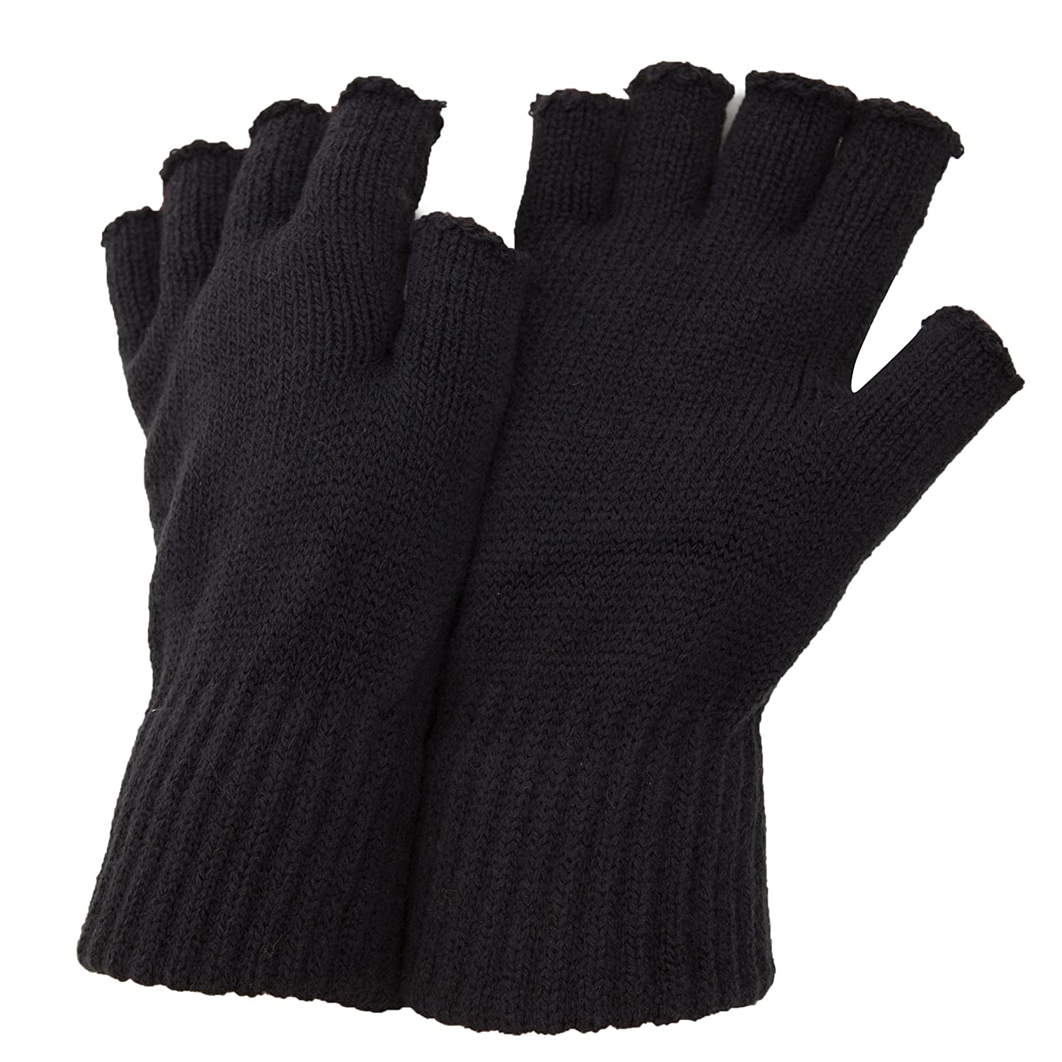 FLOSO Mens Fingerless Winter Gloves (One Size) (Dark Grey) UTMG-12D_5