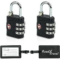 READY4TRAVEL Kofferschloss TSA (2er Set) - 3 stelliges Zahlenschloss mit 2 hochwertigen Adressanhängern - Koffer Vorhängeschloss inklusive Stoffbeutel zur Aufbewahrung
