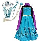 Frozen ELSA Coronation Dress + Elsa Cape + Tiara Crown + Gloves + Snowflake Wand + Braid Wig Girls Dress-up Set