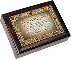 Cottage Garden Footprints in The Sand Amber Earth Tone Jeweled Music Box Plays On Eagle's Wings