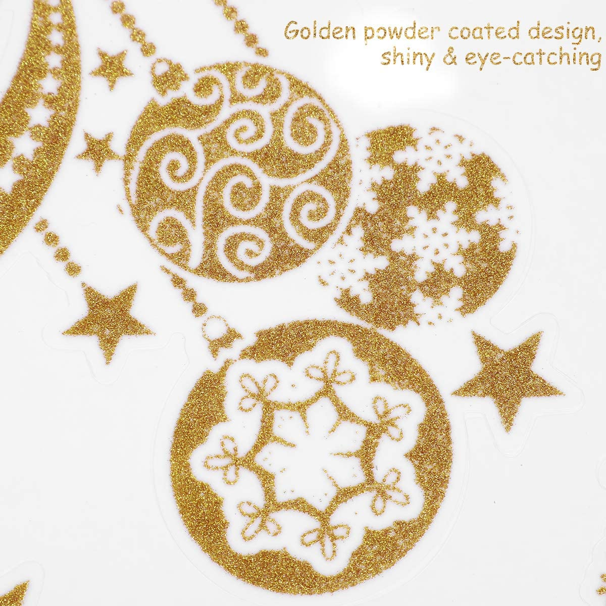 Christmas Window Clings Stickers, Golden Glitter Snowflake Decorations for Winter Xmas Party Supplies 57 Pcs