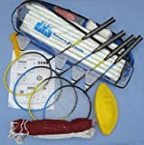 Badminton or Volleyball Net, Poles, Four Racquets and Volley Ball