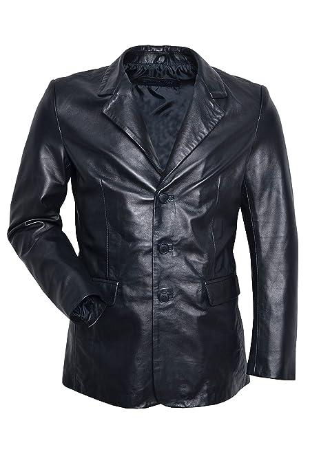 Smart Range Chaqueta de Piel SLIMJIM3BB para Hombre Tipo bleiser, Color Negro Cuero de Oveja, Muy Suave, Estilo Casual, Entallada