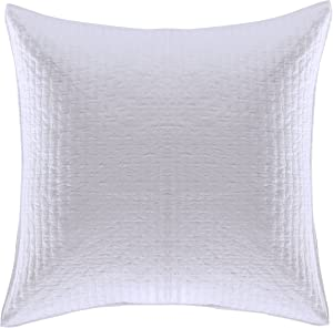 Levtex Home - Cross Stitch - 100% Cotton - Euro Sham (26x26in.) Set of 2 - Bright White