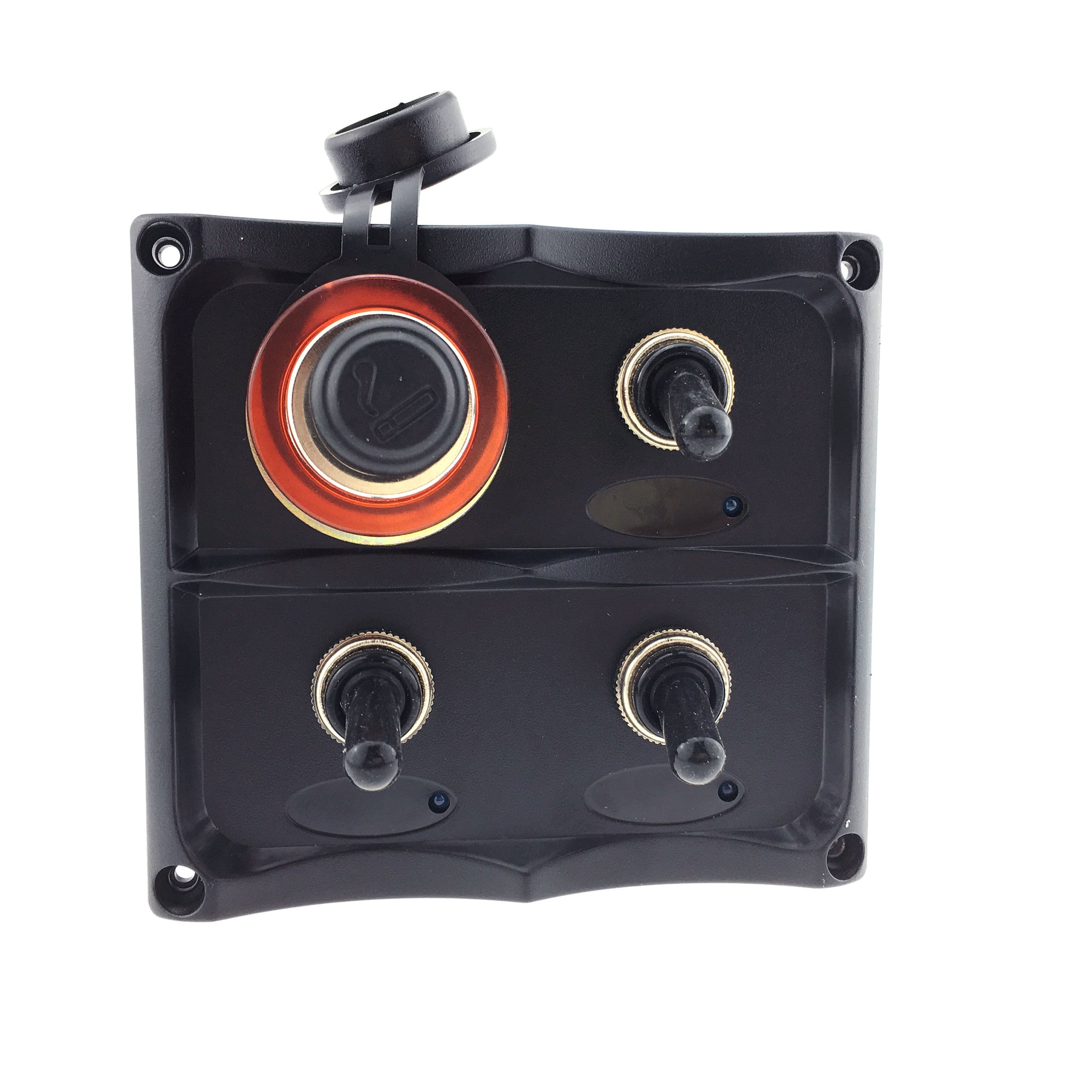 Iztoss Marine Electric 3 Gang Led Toggle Switch Panel With 1 Cigarette lighter plug for Boat truck and Rv by IZTOSS