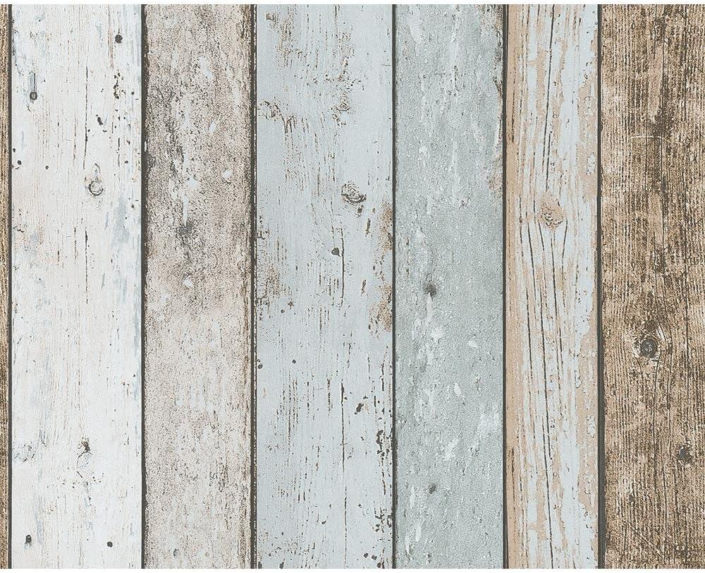 A S Creation Papier Tapete Poco Grau Blau Braun Holz Amazon De Baumarkt