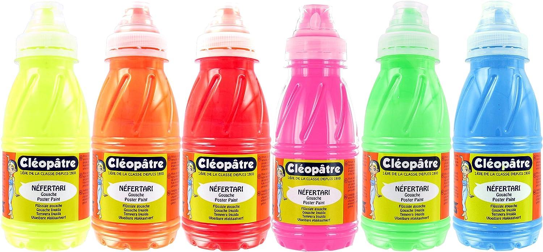 Cleopatre - PGN250x6F - Pack de 6 frascos de pintura guache, 250 ml, fluorescente: Amazon.es: Oficina y papelería