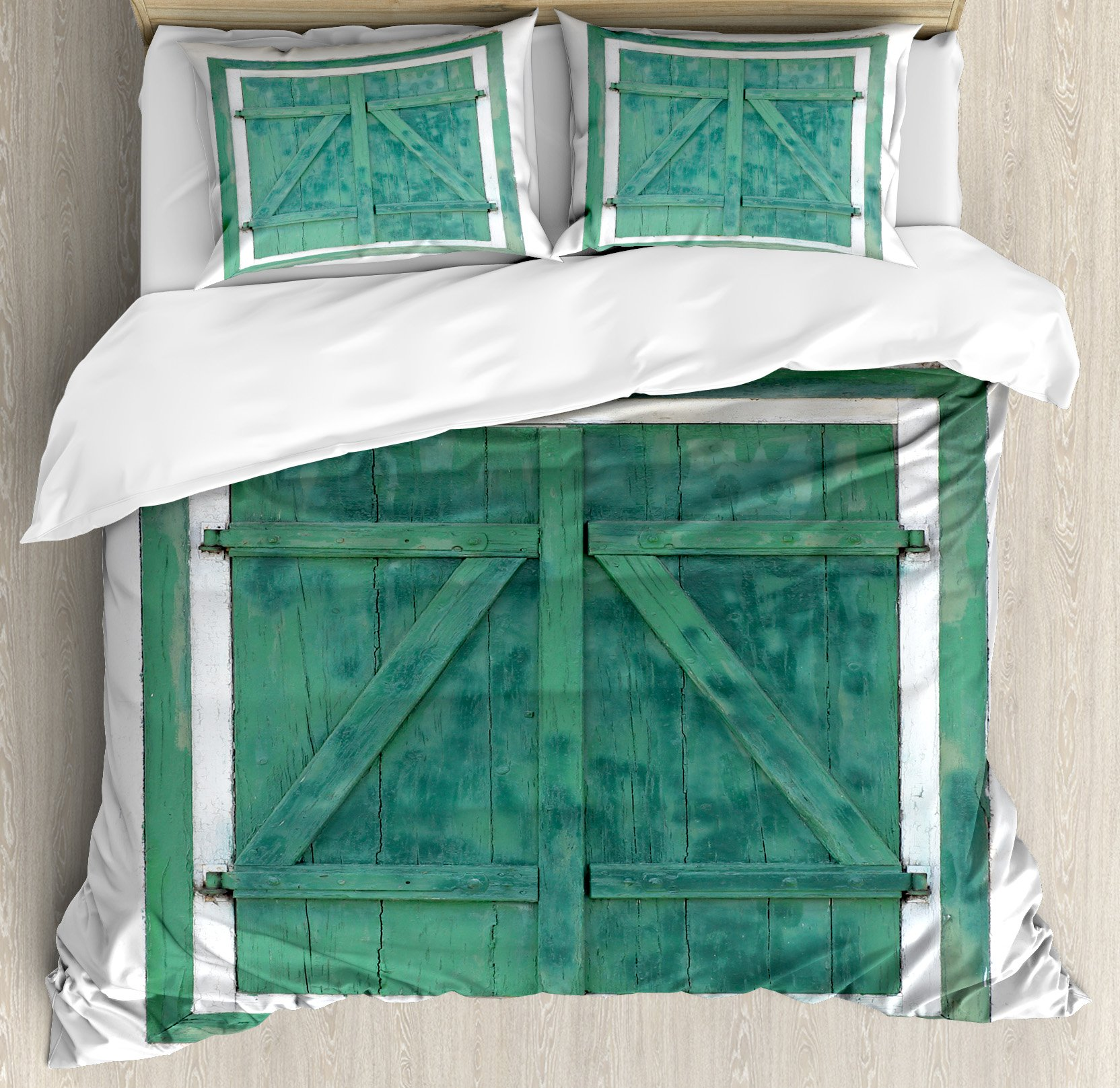 Ambesonne Country Duvet Cover Set King Size, Retro Wooden Window and Shutters Image Traditional Farm Cottage Home Boho Print, Decorative 3 Piece Bedding Set with 2 Pillow Shams, Teal Grey