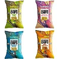 Barnana Organic Plantain Chips - Variety Pack - 5 Ounce, 4 Pack Plantains - Barnana Salty, Crunchy, Thick Sliced Snack…