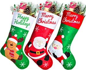 DearHouse 3 Pack Large Christmas Stockings, 19 inches Santa, Snowman, Reindeer Character 3D Plush Xmas Stockings, for Home Holiday Xmas Party Fireplace Decorations