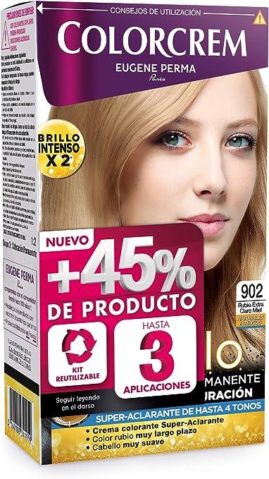 Colorcrem Color & Brillo - Tinte Permanente Mujer - Tono 902 Rubio Extraclaro Miel, con Tratamiento Nutri-Protector al Aceite de Argán. + 45% de ...