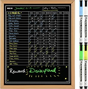"""Chore Chart for Multiple Kids - Dry Erase Daily Chores Board - Hanging Black Board for Wall - Task List for Toddlers, Adults, Teens - 19X16"""" - 4 Magnetic Chalk Markers-Family Whiteboard Weekly Planner"""