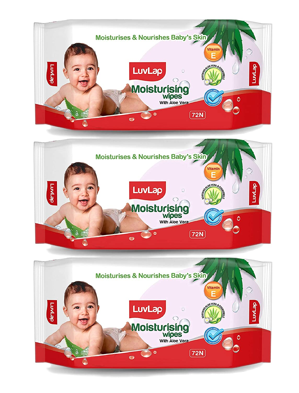LuvLap Paraben Free Baby Wipes with Aloe Vera (72 Wipes/Pack, Pack of 3)