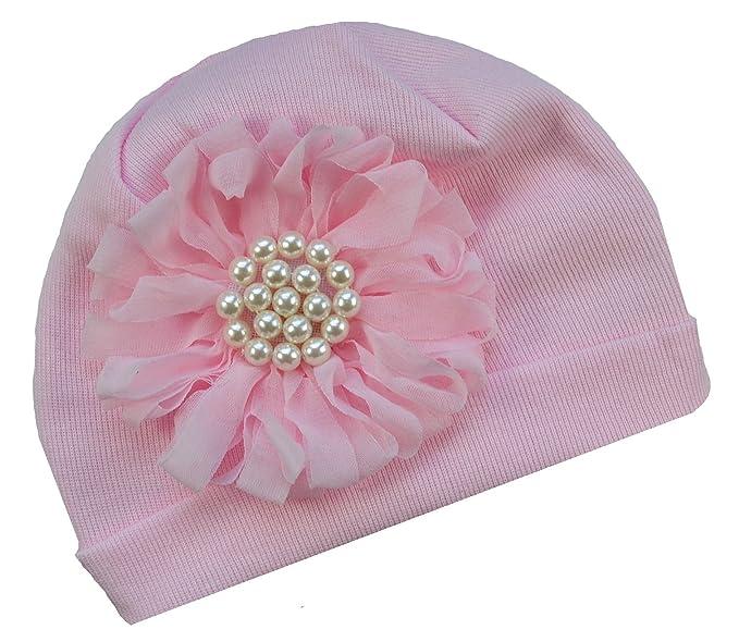 Amazon.com  Newborn Funny Girl Designs Pearl Chiffon Flower Baby Hat ... c8cb0a73215
