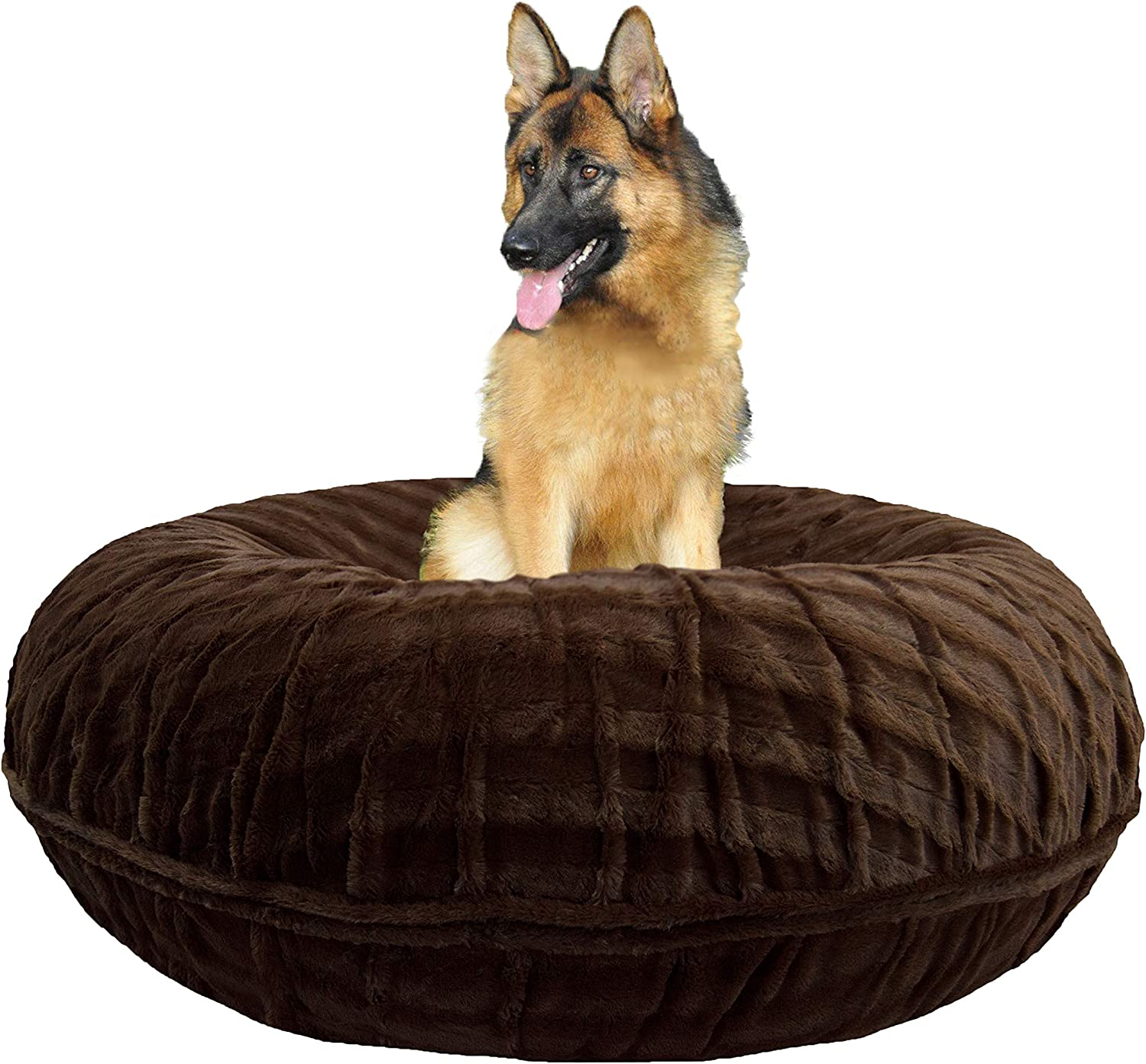 Bessie and Barnie Signature Godiva Brown Extra Plush Faux Fur Bagel Pet Dog Bed Multiple Sizes