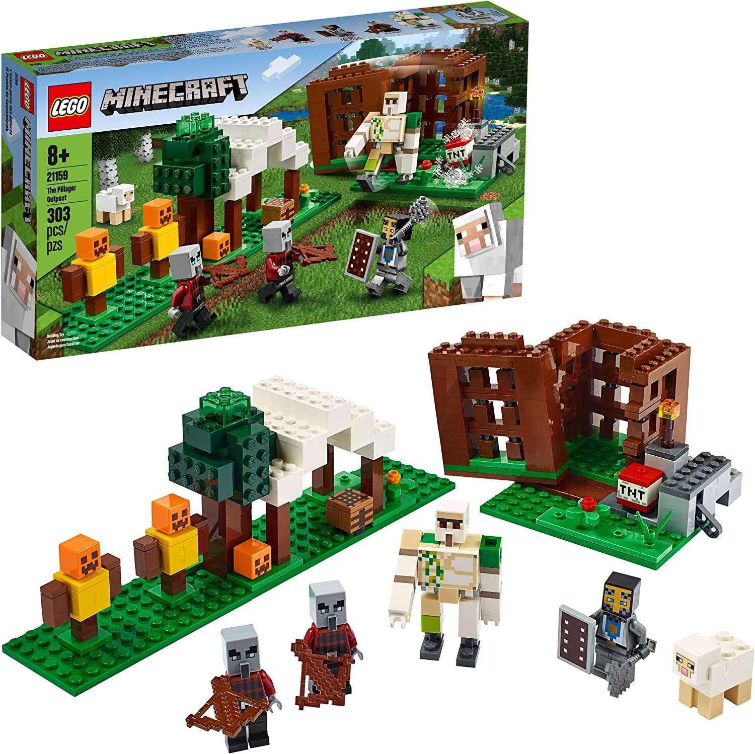 LEGO Minecraft The Pillager Outpost 21159 Awesome Action Figure Brick Building Playset for Kids Minecraft Gift, New 2020 (303 Pieces)