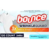 Bounce WrinkleGuard Mega Dryer Sheets, Fabric Softener and Wrinkle Releaser Sheets, Unscented, 120 Count (Pack of 2, 60 Count