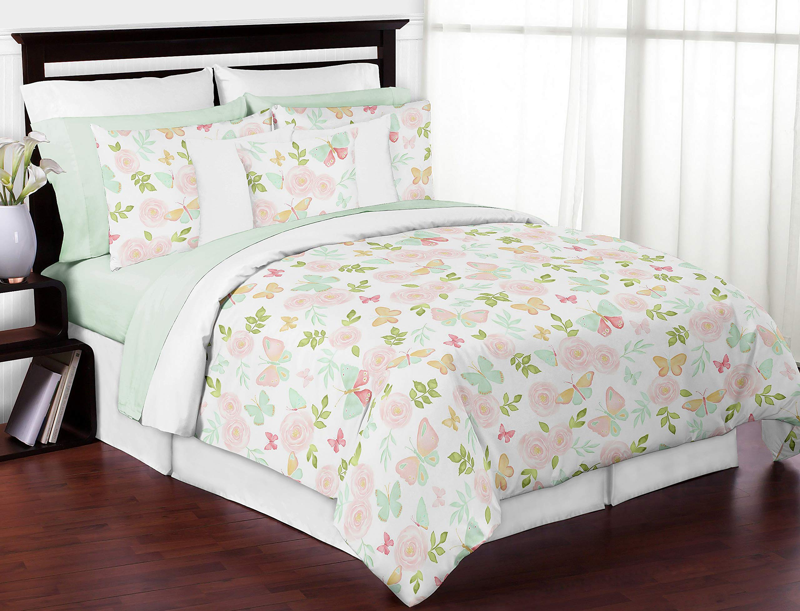 Sweet Jojo Designs Blush Pink, Mint and White Shabby Chic Butterfly Floral Girl Full/Queen Kid Teen Bedding Comforter Set - 3 Pieces - Watercolor Rose, Green, Gold