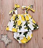 Infant Baby Girl Lemon Print Tops Shorts Briefs