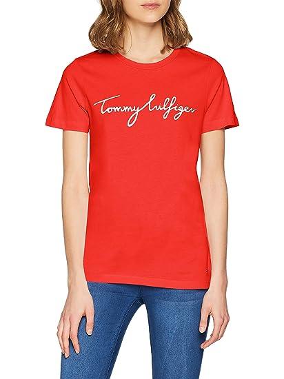 fcb2dd856 TOMMY HILFIGER Women s Aila Crew Neck Short Sleeve Logo T-Shirt ...