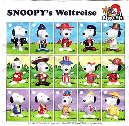 Snoopy World Tour 1998 McDonalds Happy Meal Toy Collection Box 28 Pieces Peanuts
