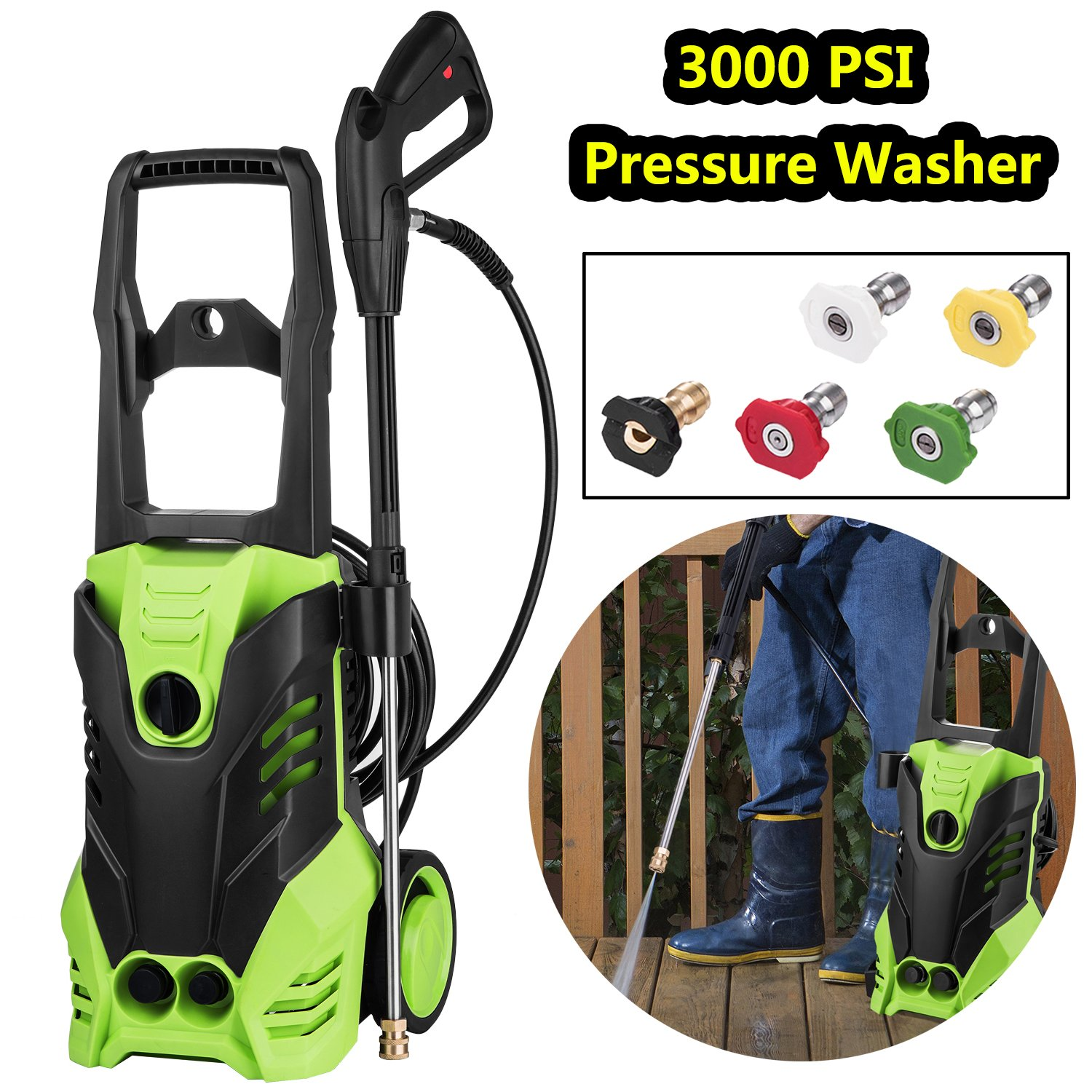 3000 PSI Electric High Pressure Washer Machine 1.8 GPM 1800W Sprayer Cleaner Machine with 5 Quick-Connect Spray Nozzles [US STOCK] (3000PSI) by ncient